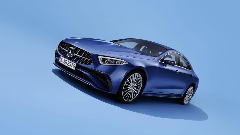 Mercedes-Benz CLS 350 AMG Line, 2021, Blue background, Wallpaper