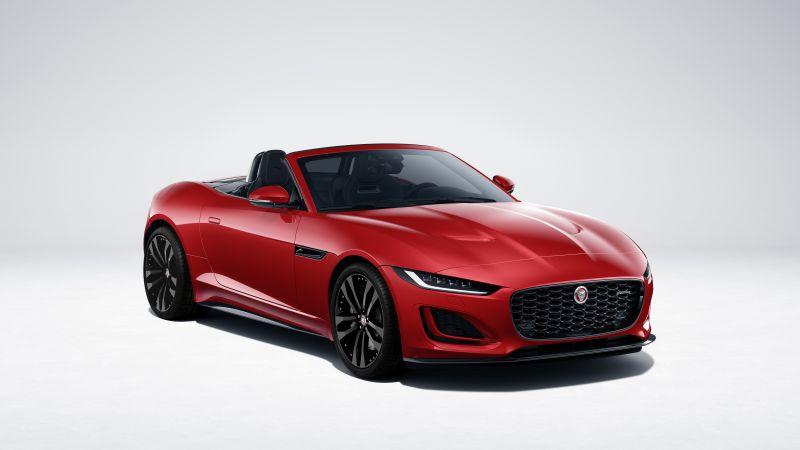 Jaguar F-Type R-Dynamic Black Convertible, 2021, White background, Red cars, 5K, 8K, Wallpaper