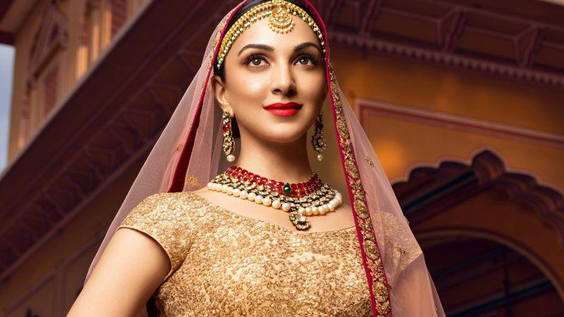 Kiara Advani, Bollywood actress, Traditional, Bride, Beautiful actress, Indian actress, 5K, Wallpaper