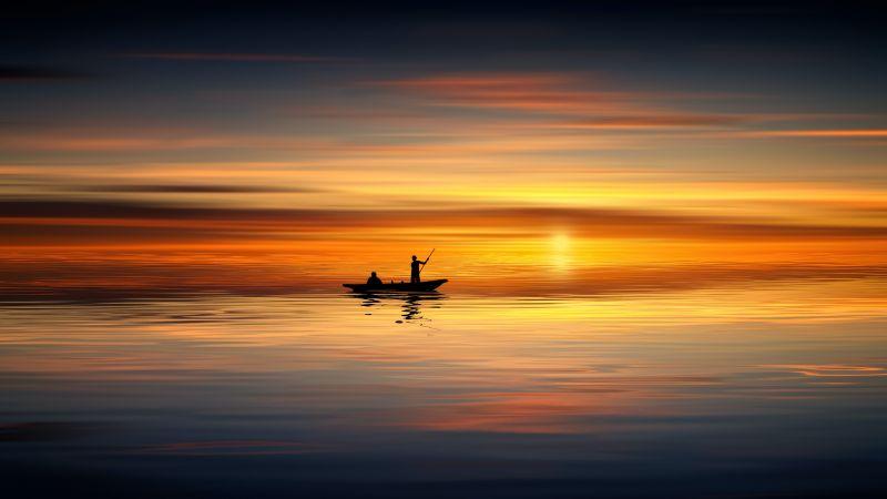 Seascape, Dawn, Dusk, Evening, Boating, Reflections, 5K, Wallpaper