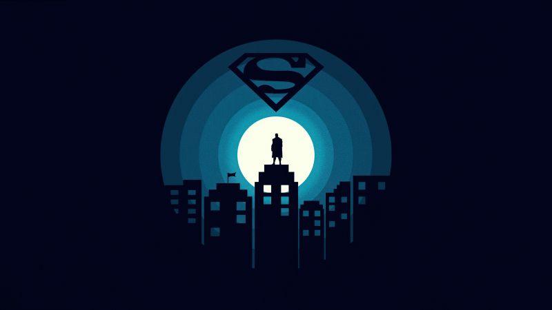 Superman, DC Superheroes, Dark background, Minimal art, 5K, Wallpaper