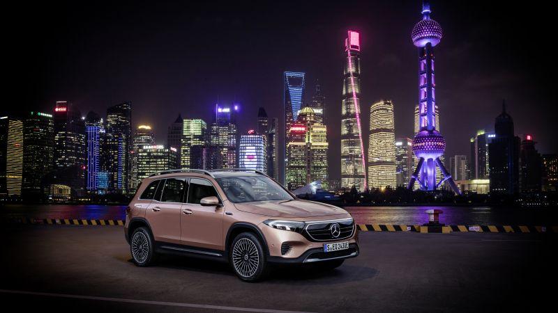Mercedes-Benz EQB 350 4MATIC Electric Art Line, Hong Kong City, Night, Cityscape, Skyline, 2021, 5K, Wallpaper