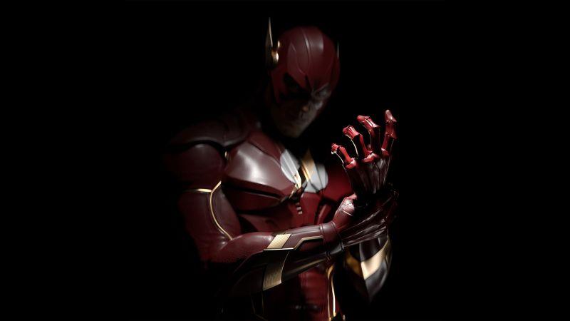 The Flash, Injustice 2, Barry Allen, Black background, DC Comics, Wallpaper