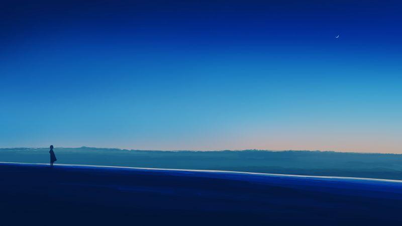 Alone, Lonely, Mood, Blue Sky, Horizon, Panoramic, Crescent Moon, 5K, Wallpaper