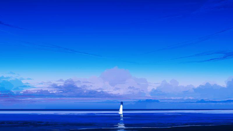 Alone, Beach, Lonely, Mood, Blue Sky, Horizon, Panoramic, 5K, Wallpaper