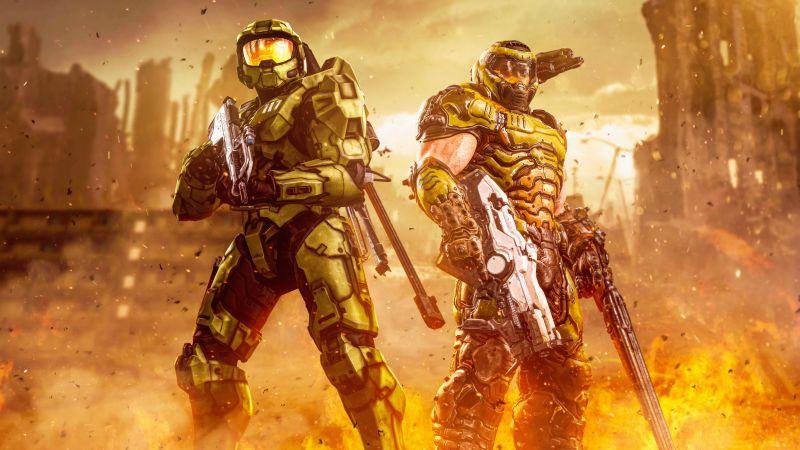 Master Chief, Doom Slayer, Halo, Spartan, Doom Eternal, 5K, Wallpaper