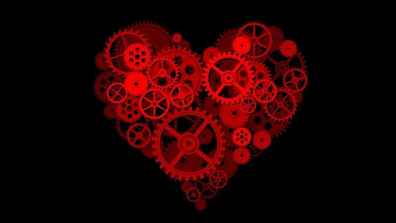 Love heart, Gears, Mechanical, Black background, Artwork, 5K, 8K, Wallpaper
