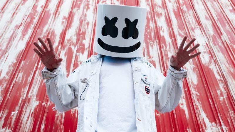 Marshmello, American DJ, Mask, Christopher Comstock, 5K, Wallpaper