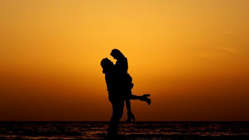 Couple, Silhouette, Sunset, Beach, Romantic, Date night, 5K, 8K, Wallpaper