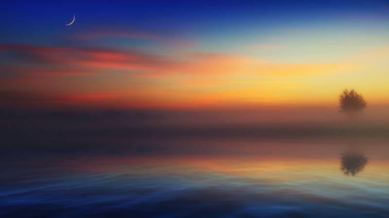 Horizon, Landscape, River, Morning fog, Crescent Moon, 5K, Wallpaper