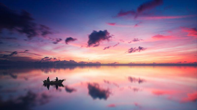 Golden hour, Sunset, River, Aesthetic, Boating, Dusk, Reflection, Evening sky, 5K
