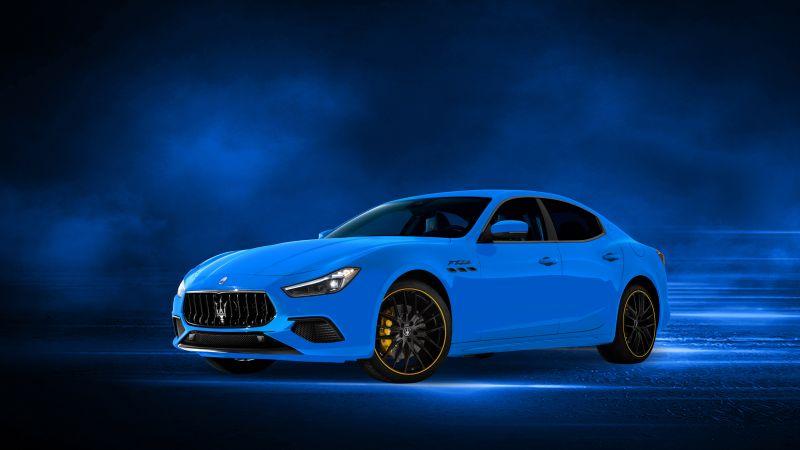 Maserati Ghibli S Q4 F Tributo, 2021, Blue background, Wallpaper