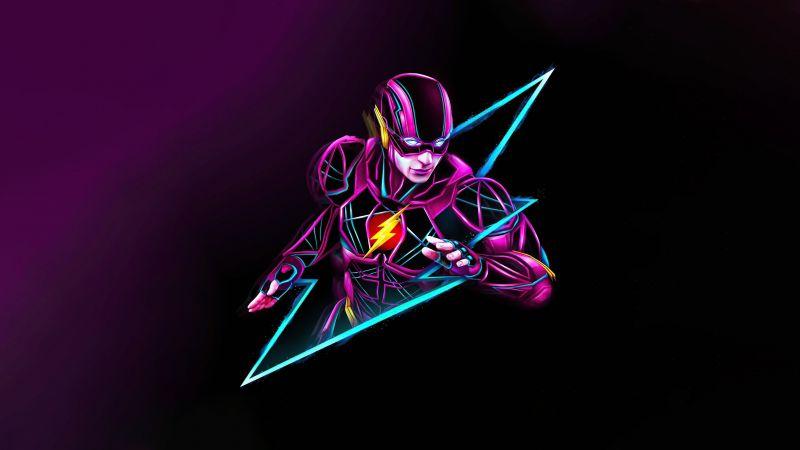 The Flash, Neon art, Purple background, Multicolor, 5K, Wallpaper