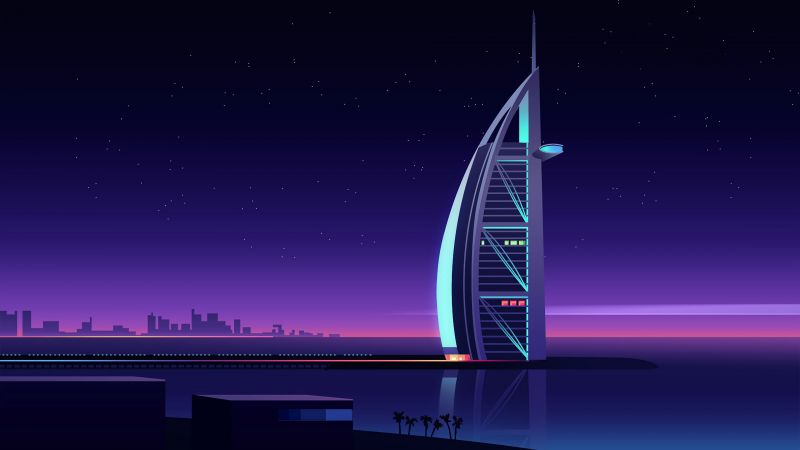 Burj Al Arab, Luxury Hotel, Night, Cityscape, Illustration, Dubai, Wallpaper
