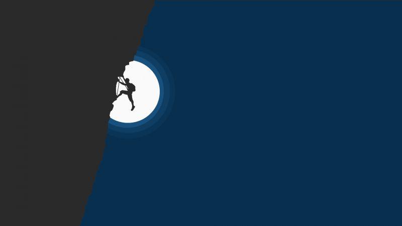 Adventure, Hiking, Cliff, Night, Moon, Wallpaper