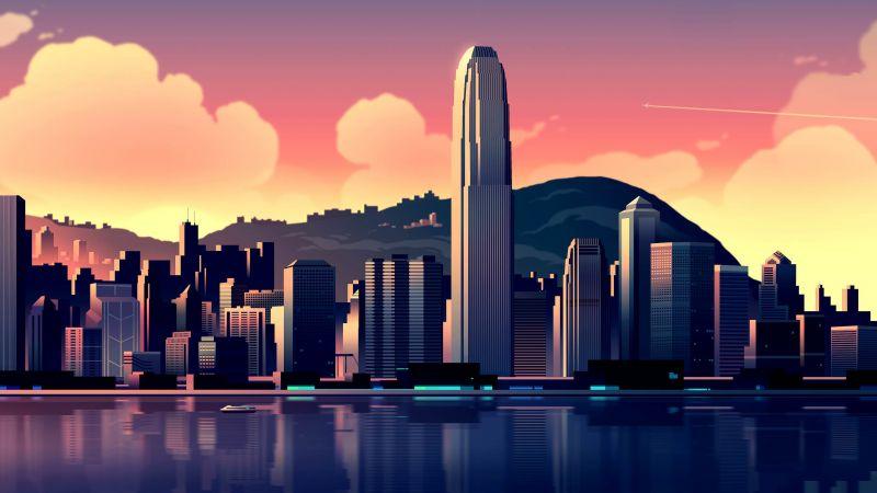Hong Kong, Cityscape, Illustration, Sunset, Buildings, Skyscrapers, Wallpaper