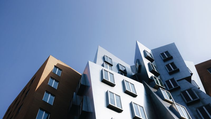 Stata Center, Modern architecture, Cambridge, Building, Complex, Clear sky, Massachusetts, 5K, Wallpaper