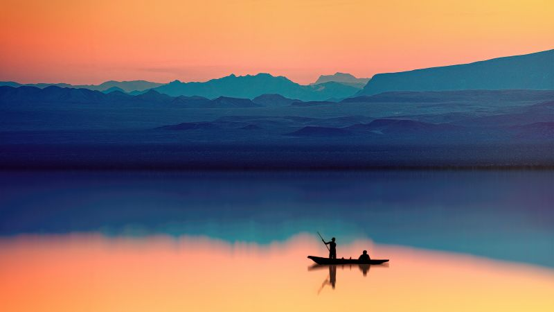 Aesthetic, Mountains, Lake, River, Dusk, Evening, Reflection, Boating, Silhouette, Wallpaper