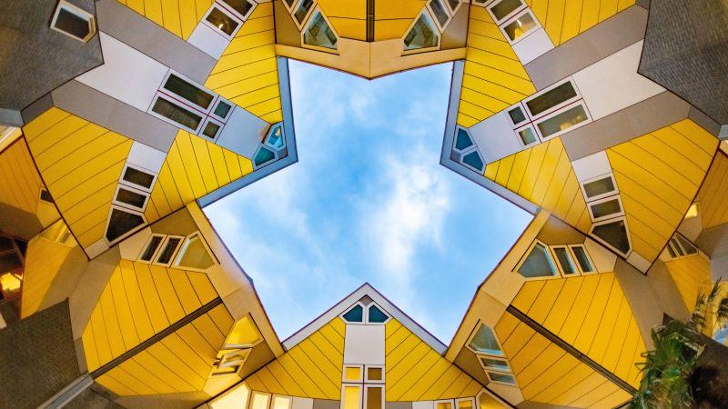 Modern architecture, Cube houses, Sky view, Rotterdam, Netherlands, 5K, 8K, Wallpaper