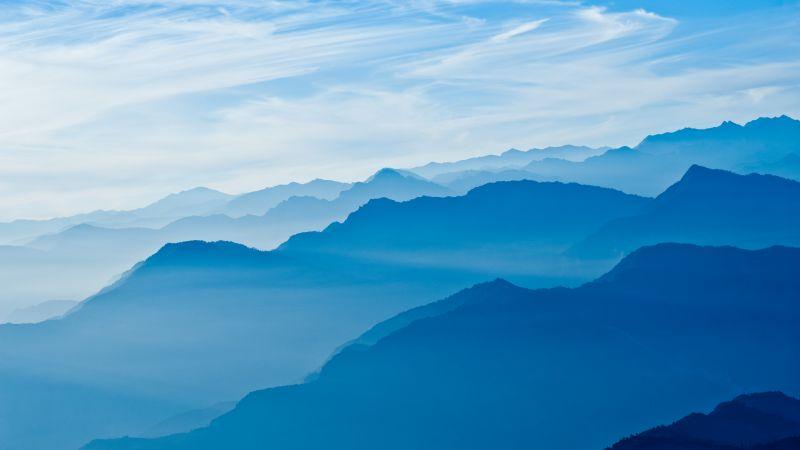 Mountains, Blue Sky, Mountain range, Fog, Peak, Wallpaper