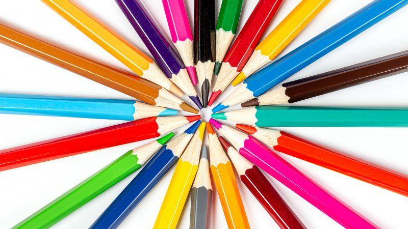 Pencils, Colorful, Multicolor, 5K, Wallpaper