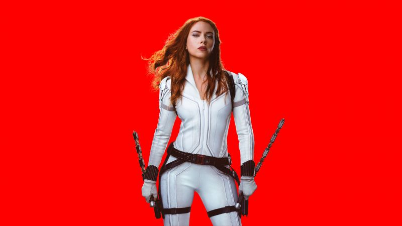 Black Widow, Scarlett Johansson, DC Comics, 2020 Movies, Red background, 5K, 8K, Wallpaper