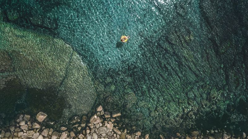 Aerial view, Summer, Seashore, Rocks, Relax, iOS 10, Stock, Wallpaper