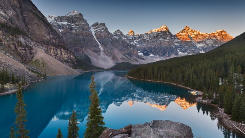 Moraine Lake, Landscape, Sunrise, Mountains, Wallpaper