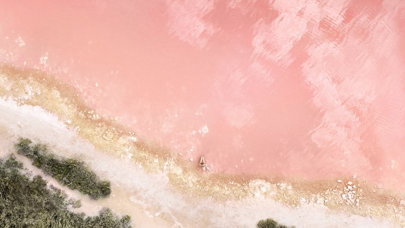 Lakeside, Pink, Aerial view, Peach, iOS 10, Stock, Wallpaper