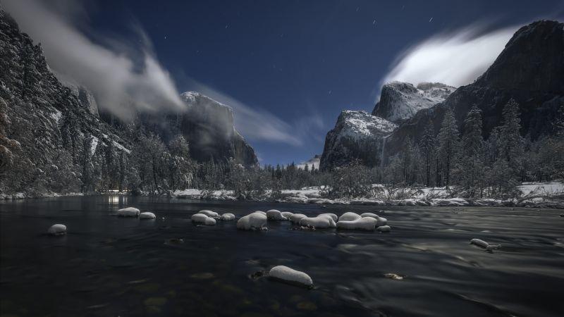 Yosemite National Park, Landscape, Winter, River, Evening, 5K, 8K, Wallpaper