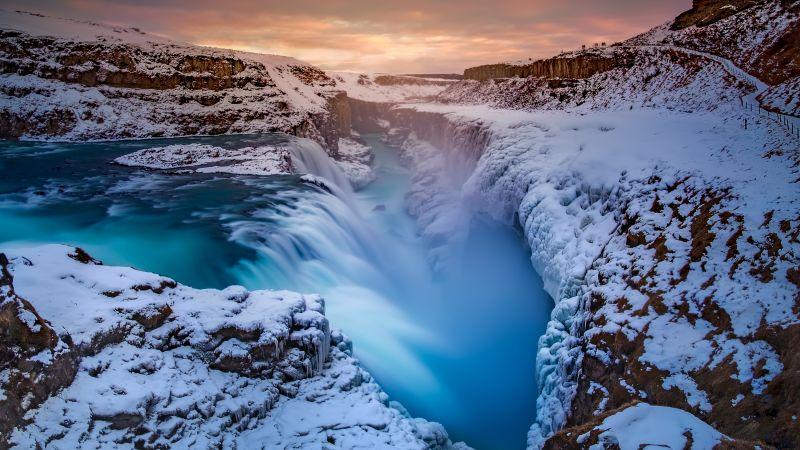 Waterfall, Winter, River, Iceland, 5K, Wallpaper