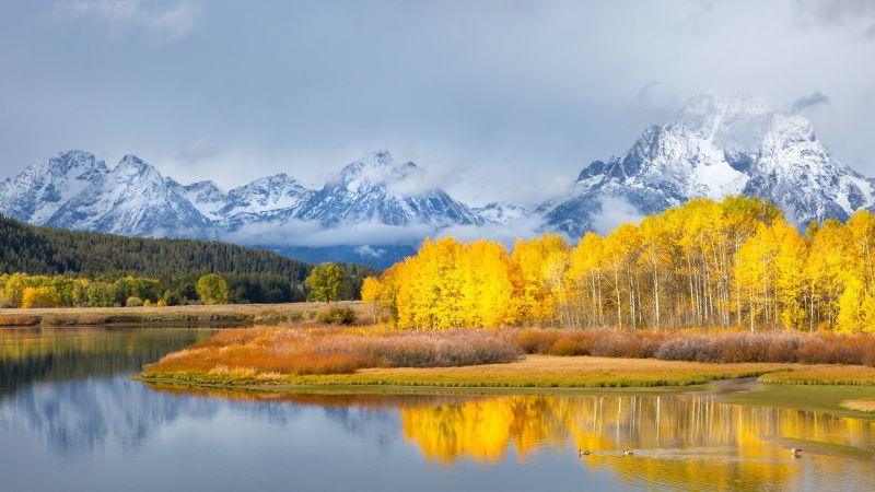 Grand Teton National Park, Autumn, Winter, Mountains, Lake, Cloudy, Fall, Reflection, Wallpaper