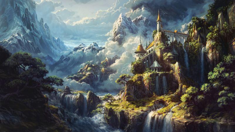 Castle, Waterfalls, Surreal, Alps mountains, Heaven, Artwork, 5K, Wallpaper