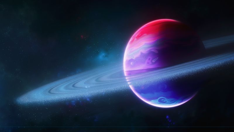Planet, Rings of Saturn, Colorful, Astronomy, Ultrawide, Dual Monitor, Panorama, Wallpaper