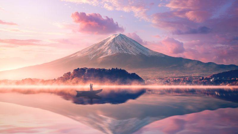 Mount Fuji, Volcano, Japan, River, Reflection, Boat, Couple, 5K, Wallpaper