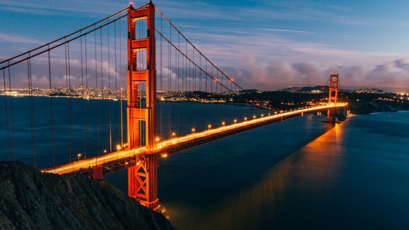 Golden Gate Bridge, San Francisco, Evening, 5K, Wallpaper