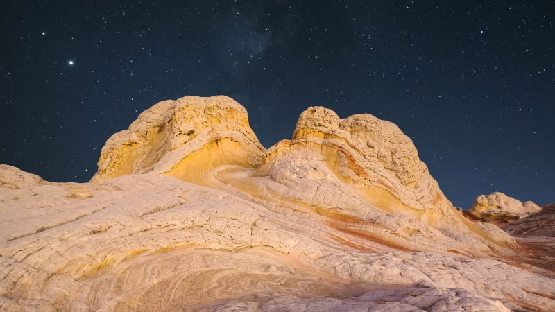 Rock, Desert, Night, Starry sky, Wallpaper