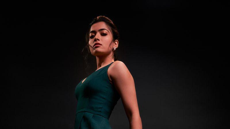 Rashmika Mandanna, South Actress, Indian actress, Tollywood, Kollywood, Dark background, 2021, 5K, Wallpaper