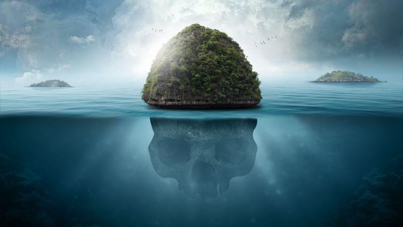 Skull, Island, Seascape, Tropical, Caribbean, Surreal, Blue, 5K, Wallpaper