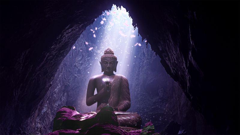 Lord Buddha, Statue, Cave, Sunlight, Lighting, Wallpaper