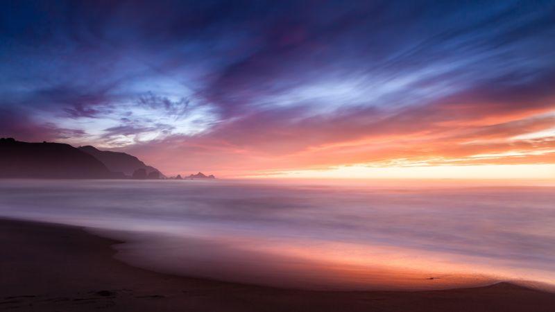 Beach, Sunset, Cloudy Sky, Long exposure, Horizon, Ocean, Shore, Seascape, 5K, Wallpaper