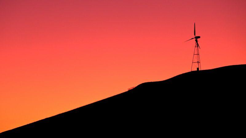 Windmill, Sunrise, Silhouette, Orange sky, Dawn, Hill, 5K, Wallpaper