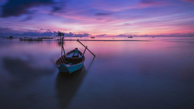 Phu Quoc Island, Sunrise, Vietnam, Purple sky, Scenery, Wooden boat, Dawn, Horizon, Landscape, Wide Angle, Body of Water, Reflection, Wallpaper