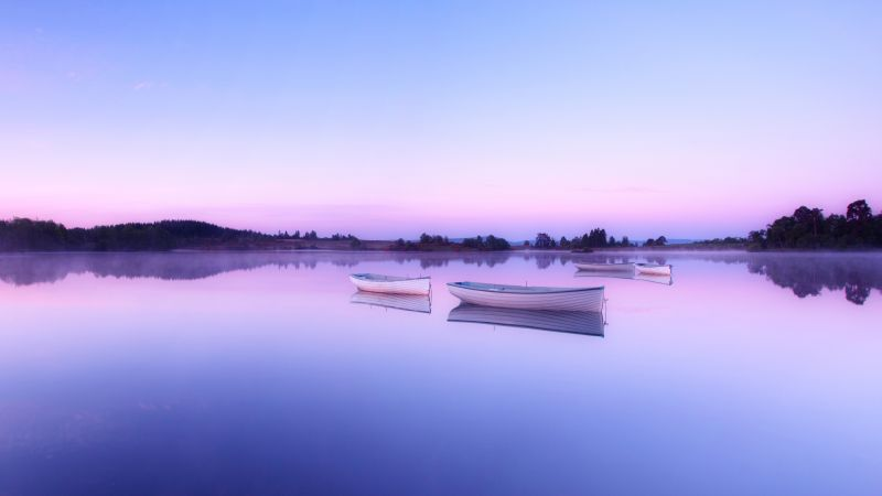 Loch Rusky, Scotland, Wee Boats, Early Morning, Mirror Lake, Reflection, Body of Water, Clear sky, 5K, Wallpaper