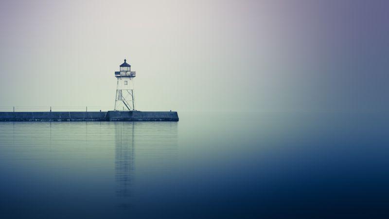 Grand Marais, Lighthouse, Minnesota, Reflection, Jetty, Harbor, Body of Water, 5K, Wallpaper