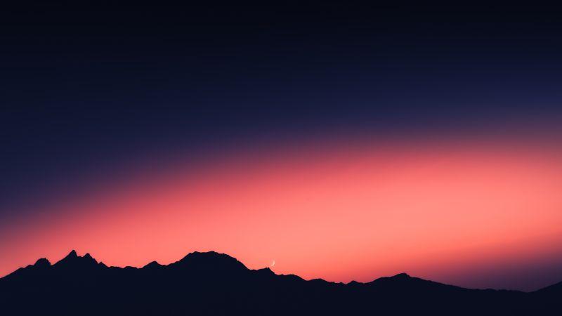 Silhouette Mountain, Sunset, Orange sky, Mountain range, Moon, Dusk, 5K, Wallpaper
