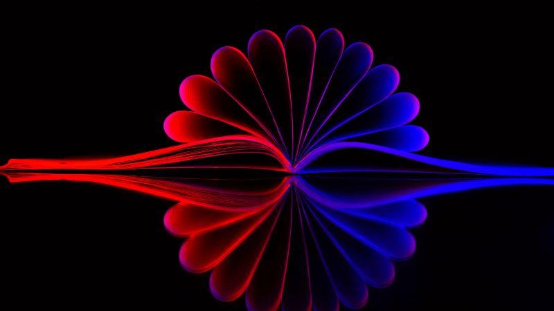 Open Book, Illustration, Reflection, Black background, Red Light, Blue light, Pattern, Symmetrical, AMOLED, 5K, Wallpaper