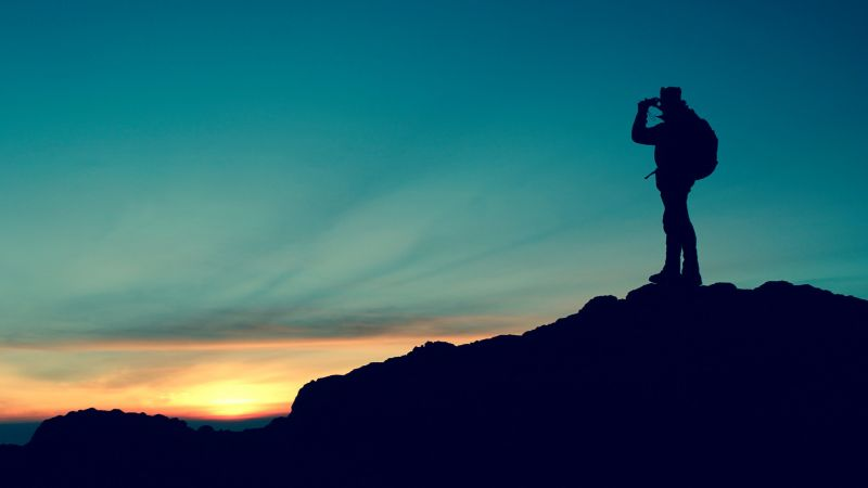 Climber, Hiker, Silhouette, Mountain top, Trekking, Sunset, Travel, Adventure, Scenery, Blue Sky, Wallpaper