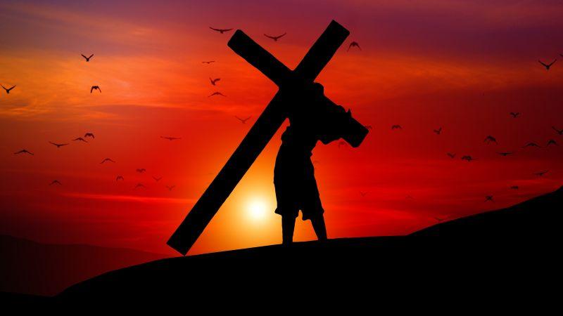 Jesus Cross, Sunset, Orange sky, Silhouette, Religion, Faith, Crucifixion, Christianity, Symbol, 5K, Wallpaper
