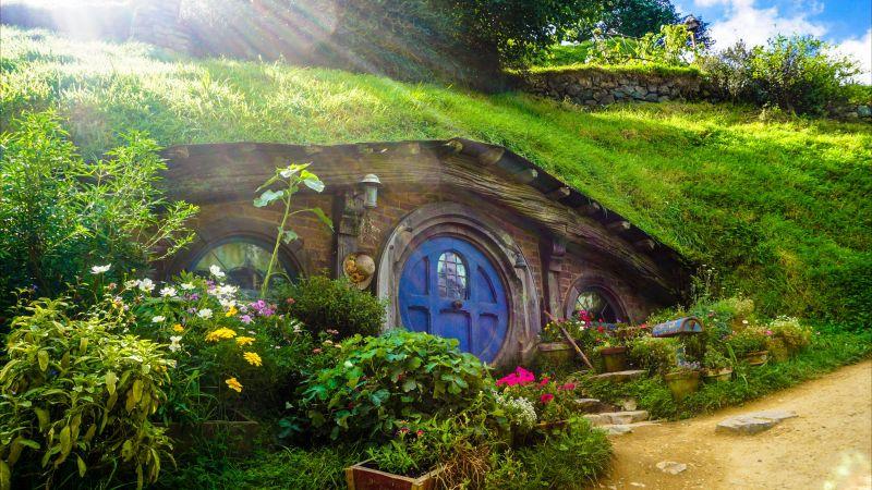Hobbiton Movie Set, New Zealand, The Lord of the Rings, Hobbit film, Green House, Beautiful, Sun rays, Greenery, 5K, Wallpaper